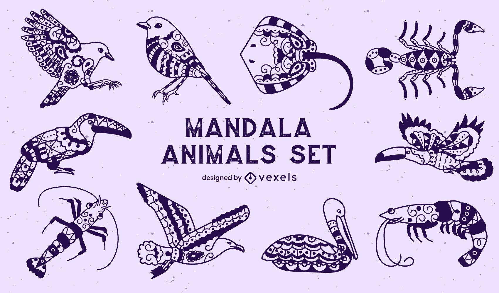 Conjunto de animais em estilo mandala
