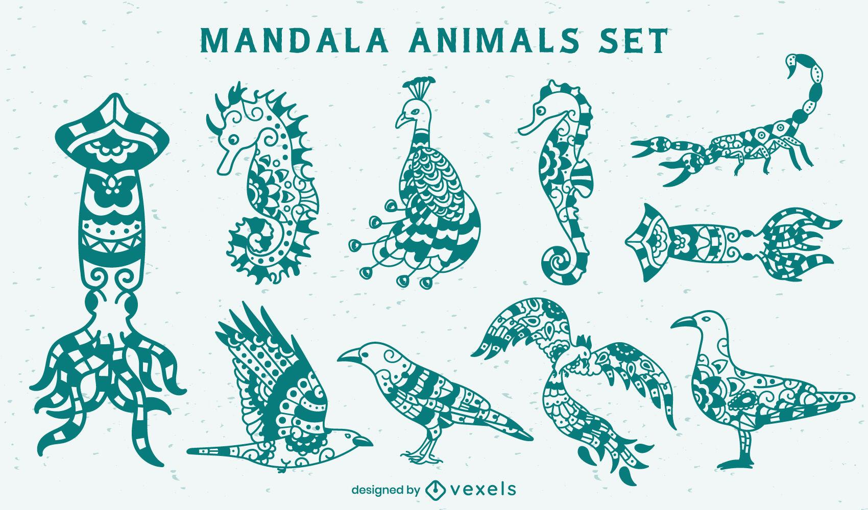 Animales ambientados en estilo mandala.