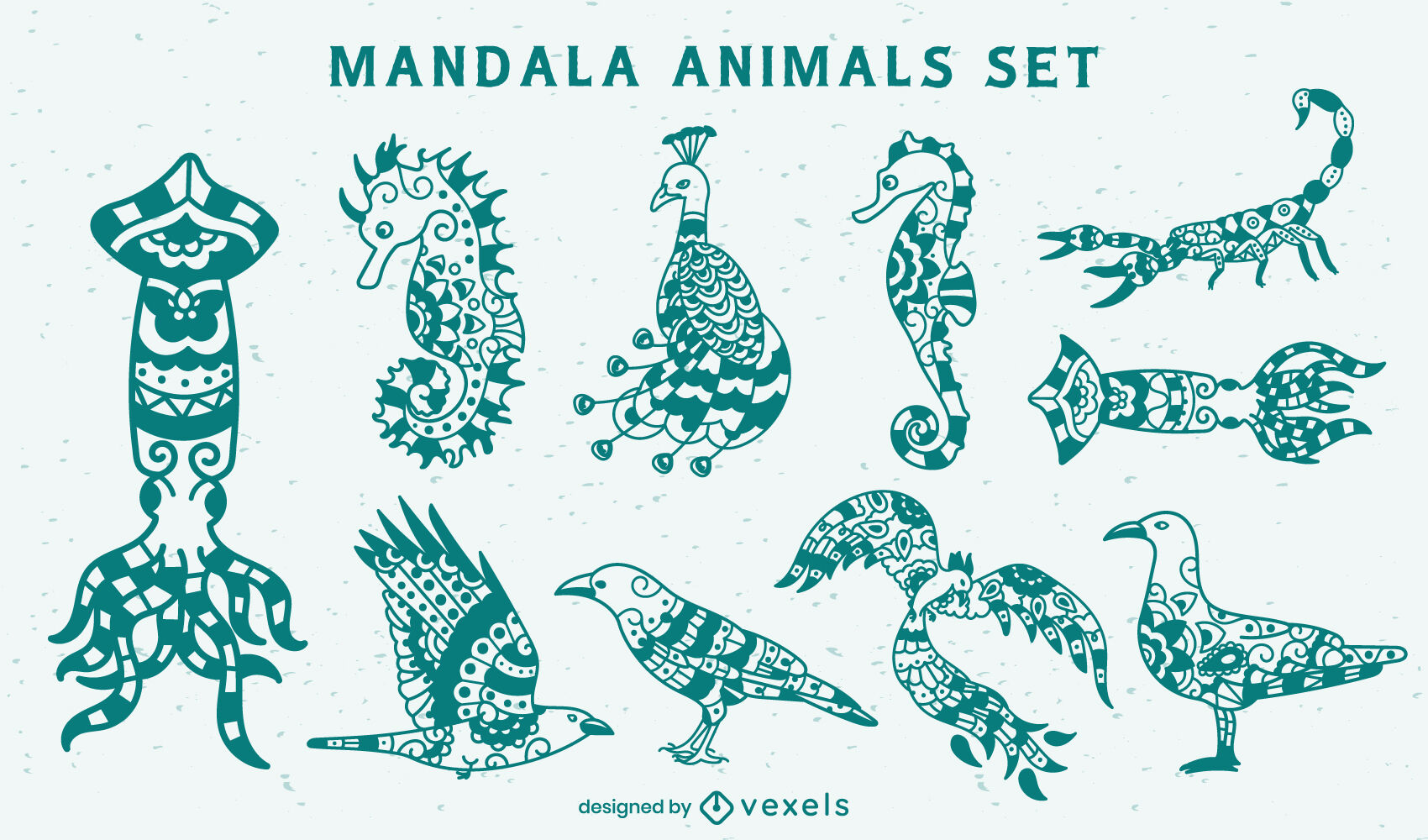 Animals set in mandala style