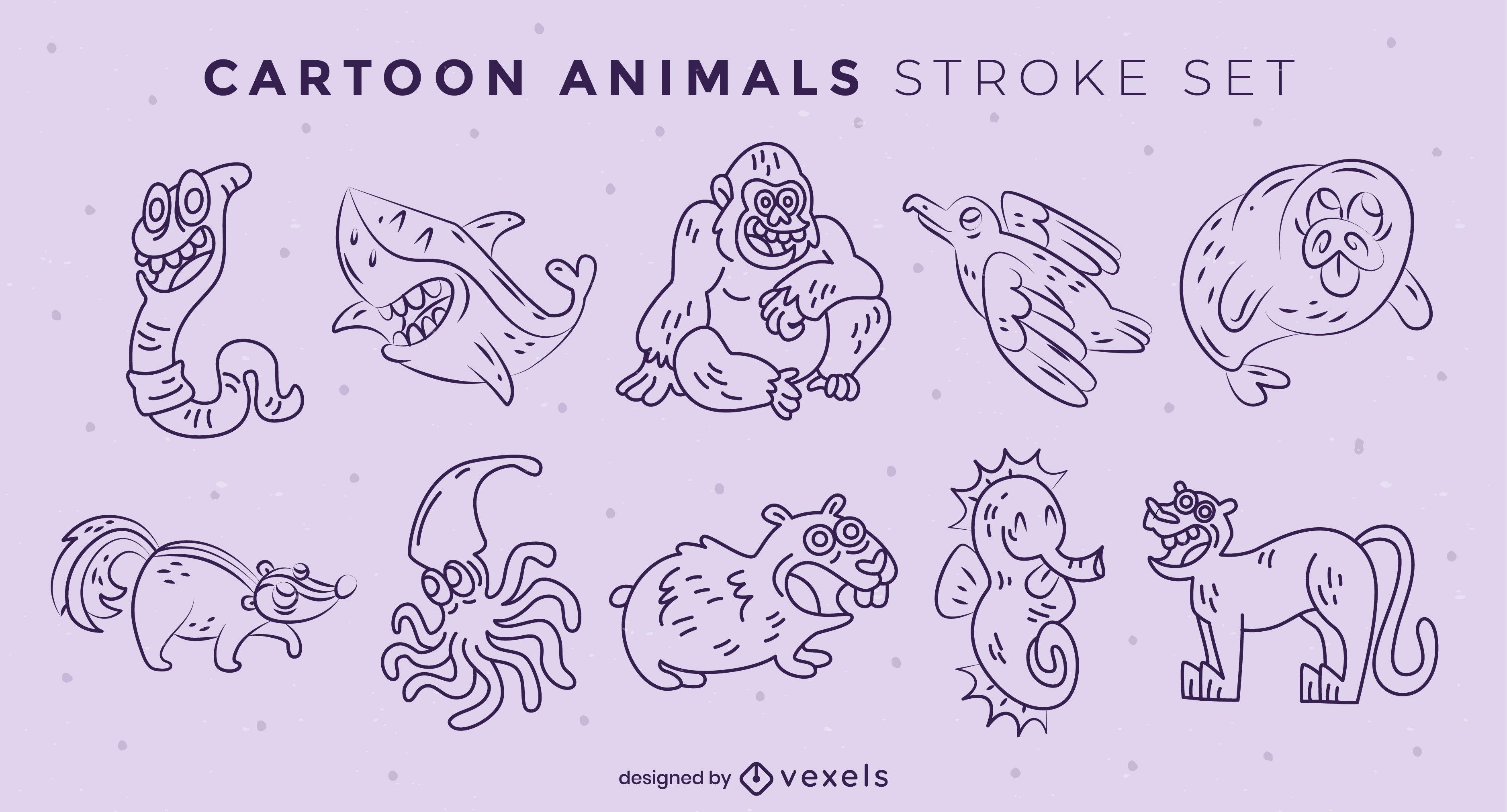 Animals cartoon stroke set