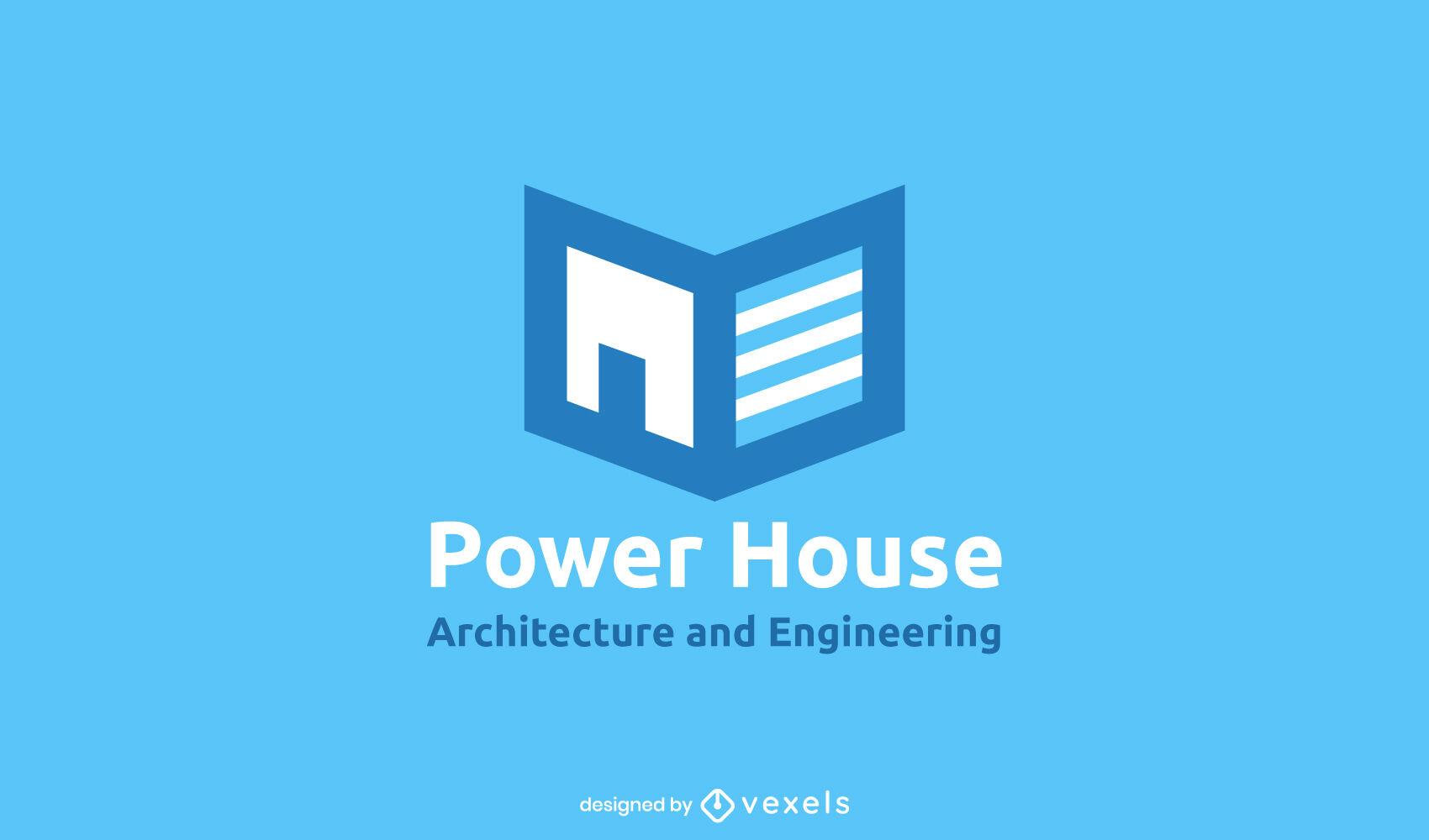 Logotipo de arquitectura de libro de casa