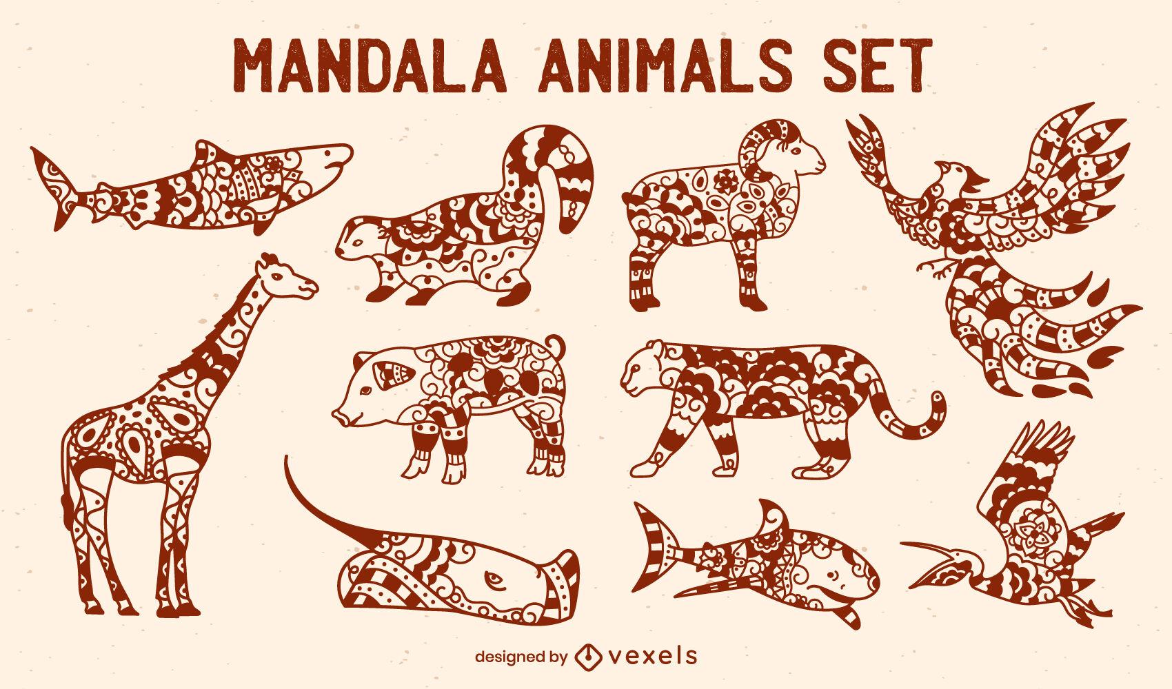 Conjunto de animales estilo mandala.