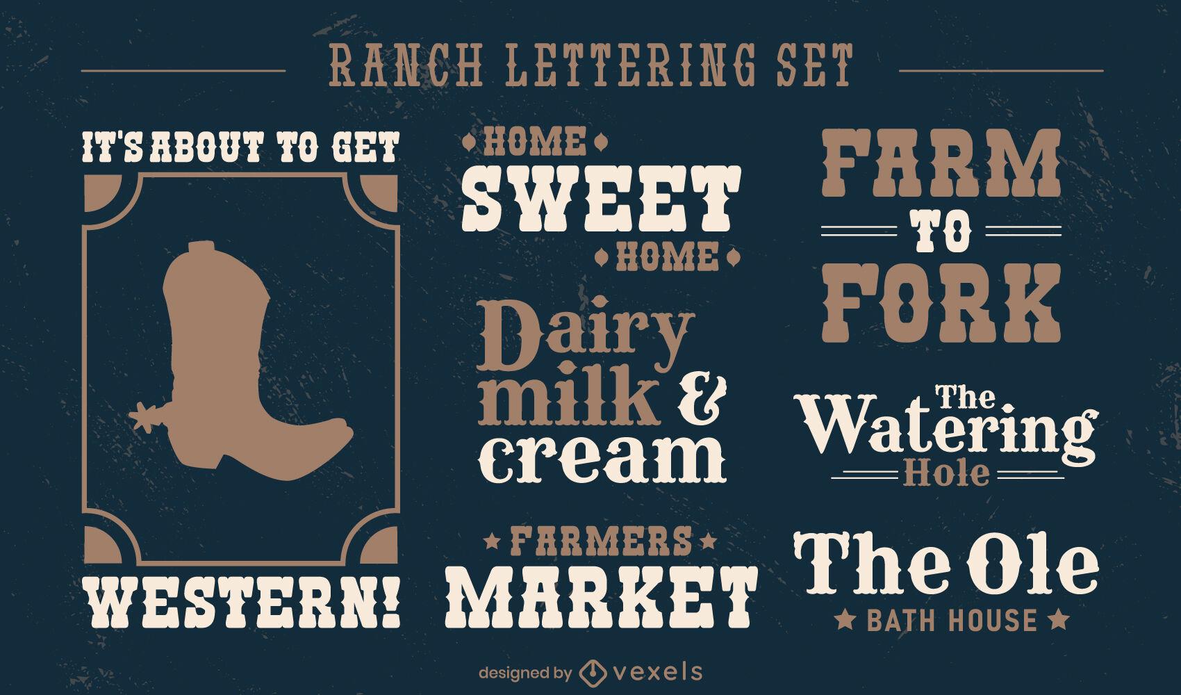 Cowboy ranch lettering badge set