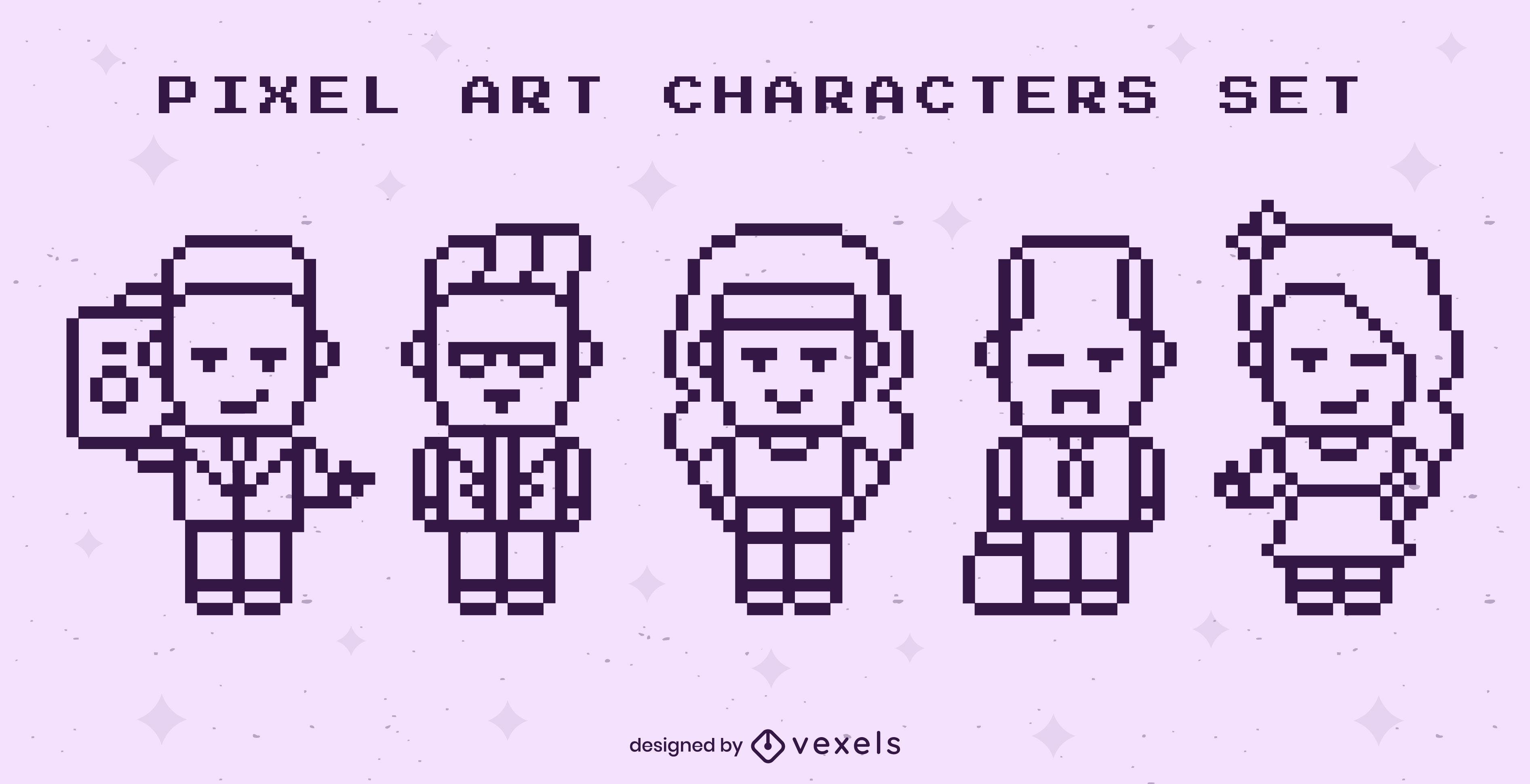 Pixel art cute people character set