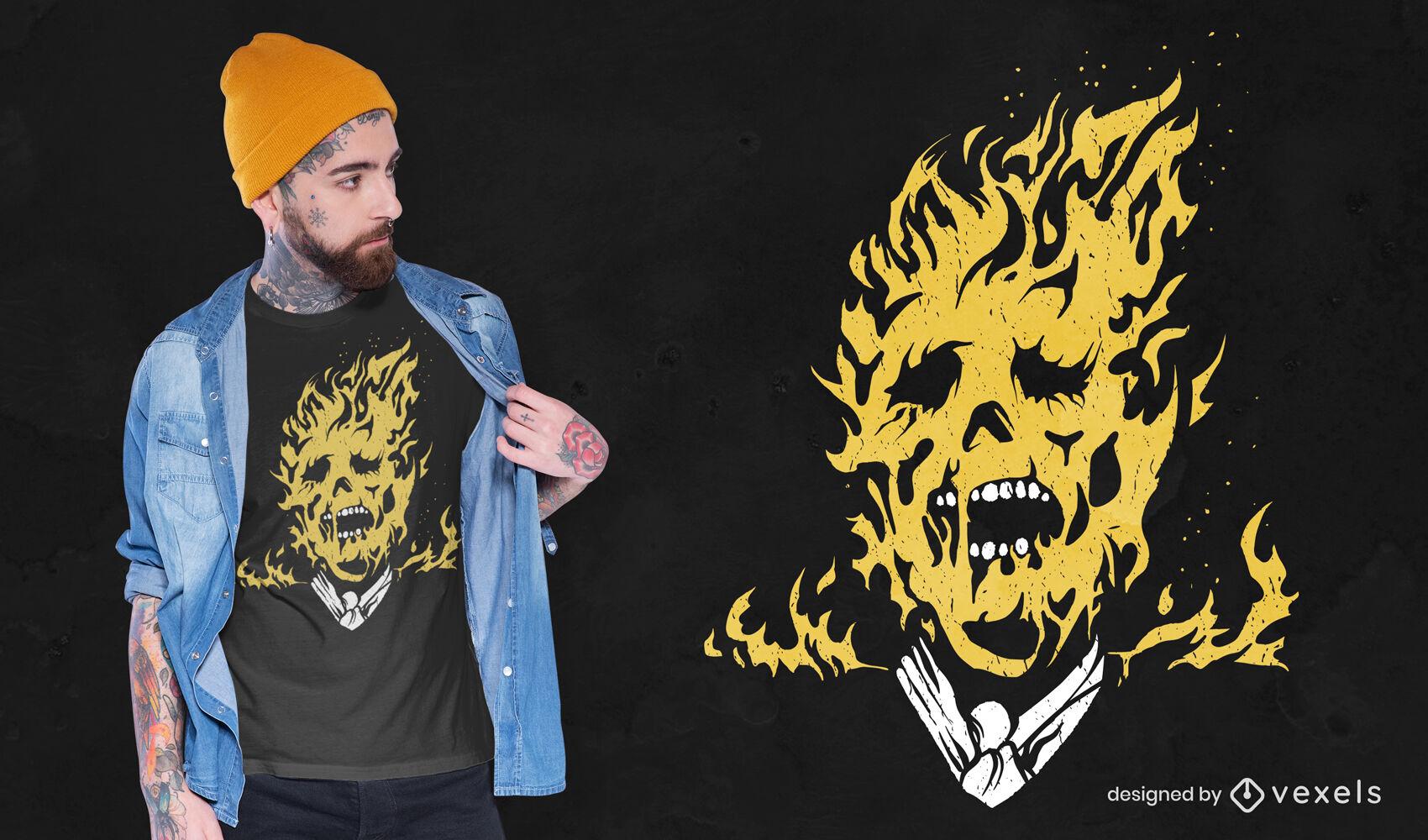 Diseño de camiseta de hombre ardiente en llamas
