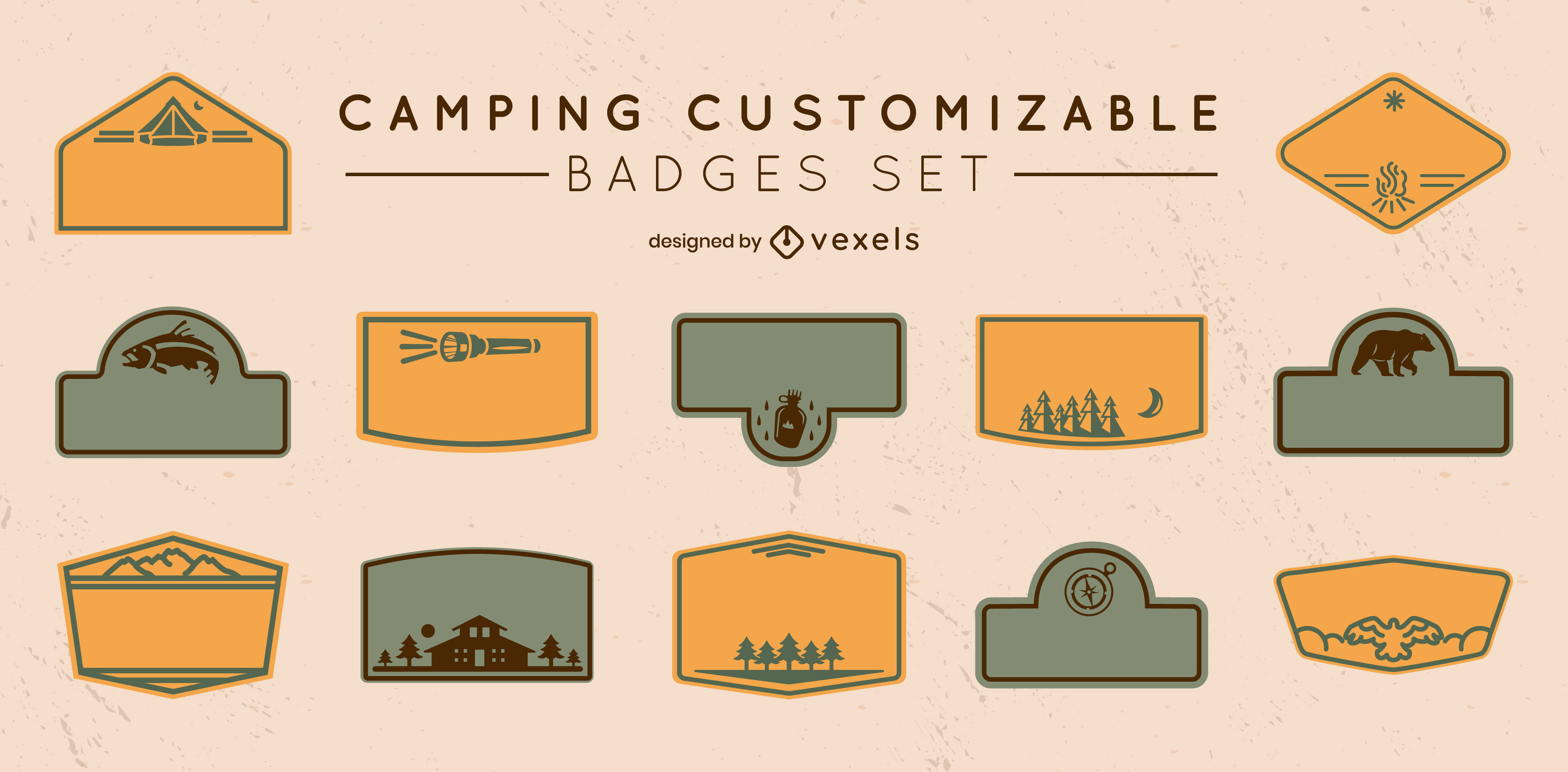 Camping customizable labels filled stroke set