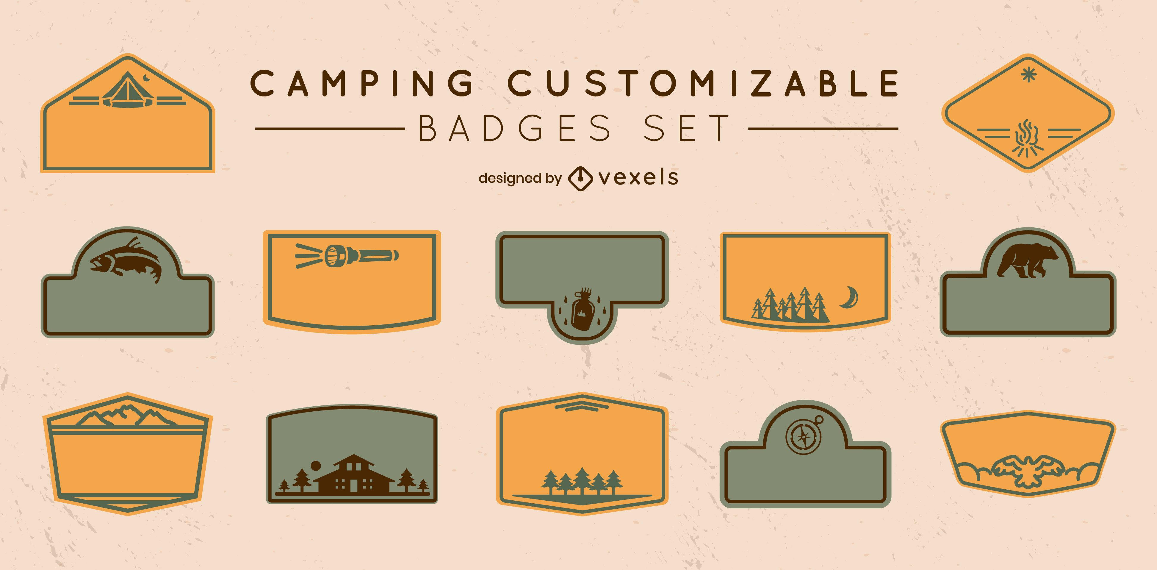 Conjunto de trazos llenos de etiquetas personalizables para acampar