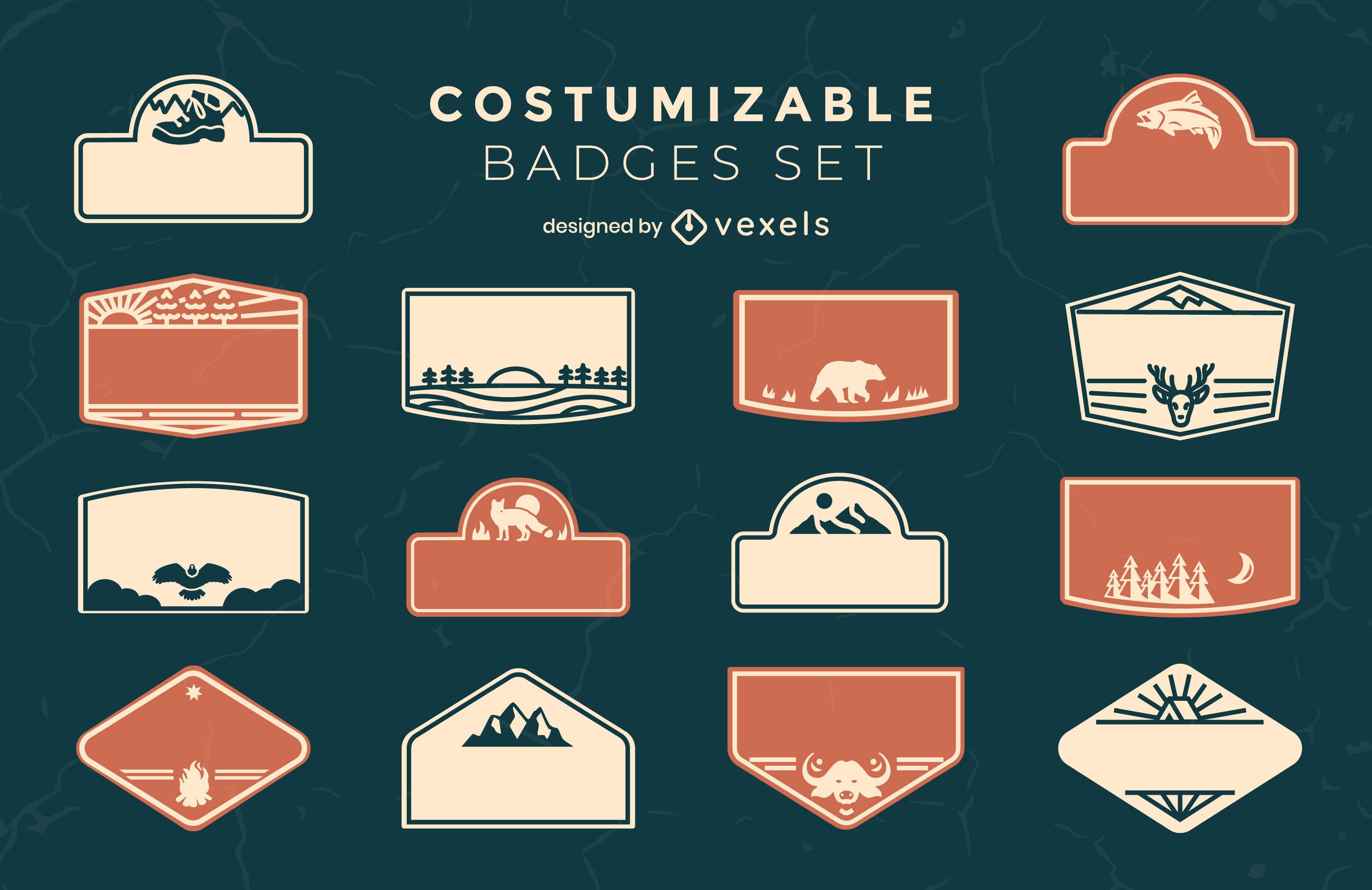 Conjunto de etiquetas de acampamento personalizáveis