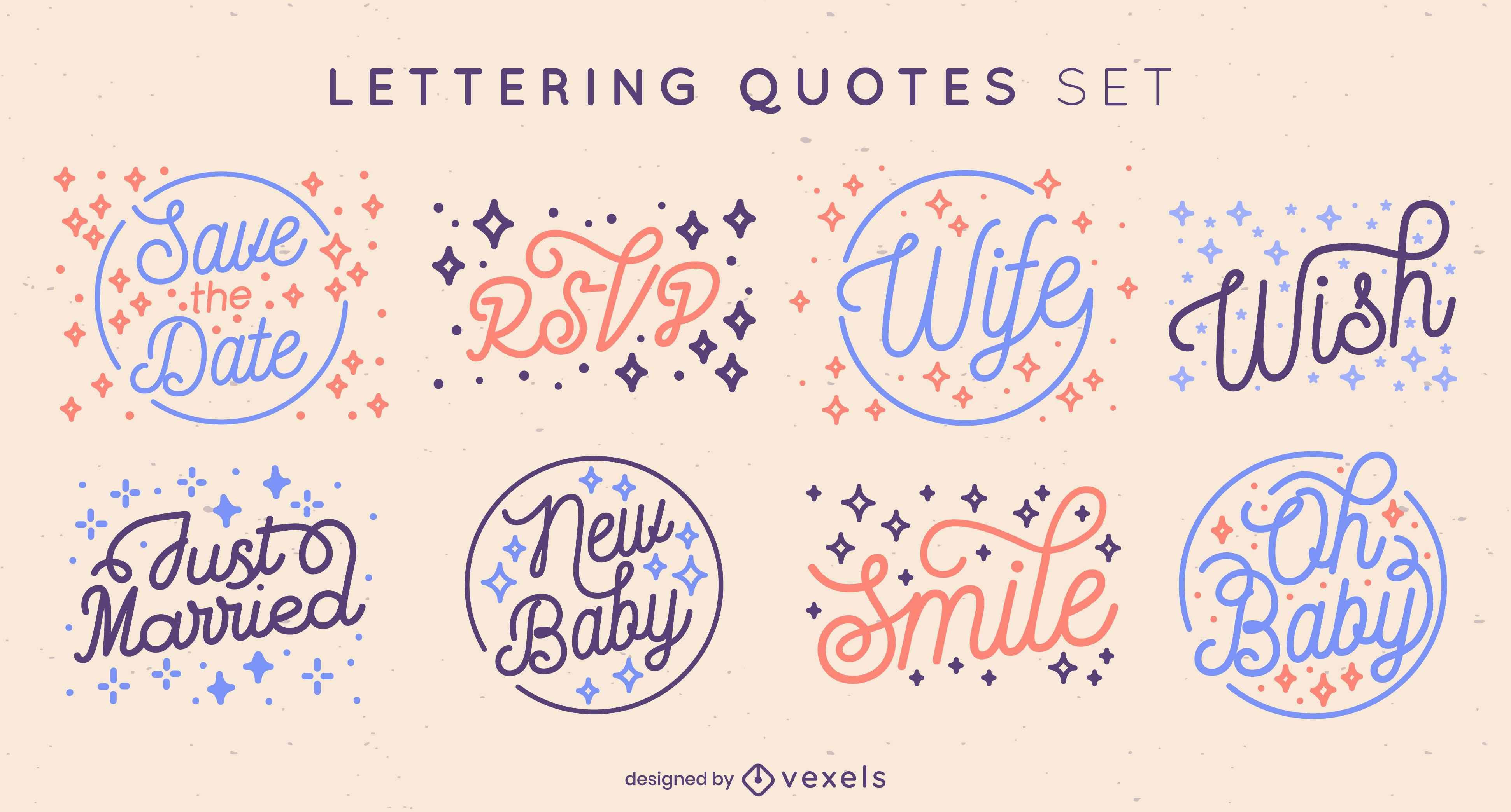 Hochzeit & Baby Zitate Schriftzug