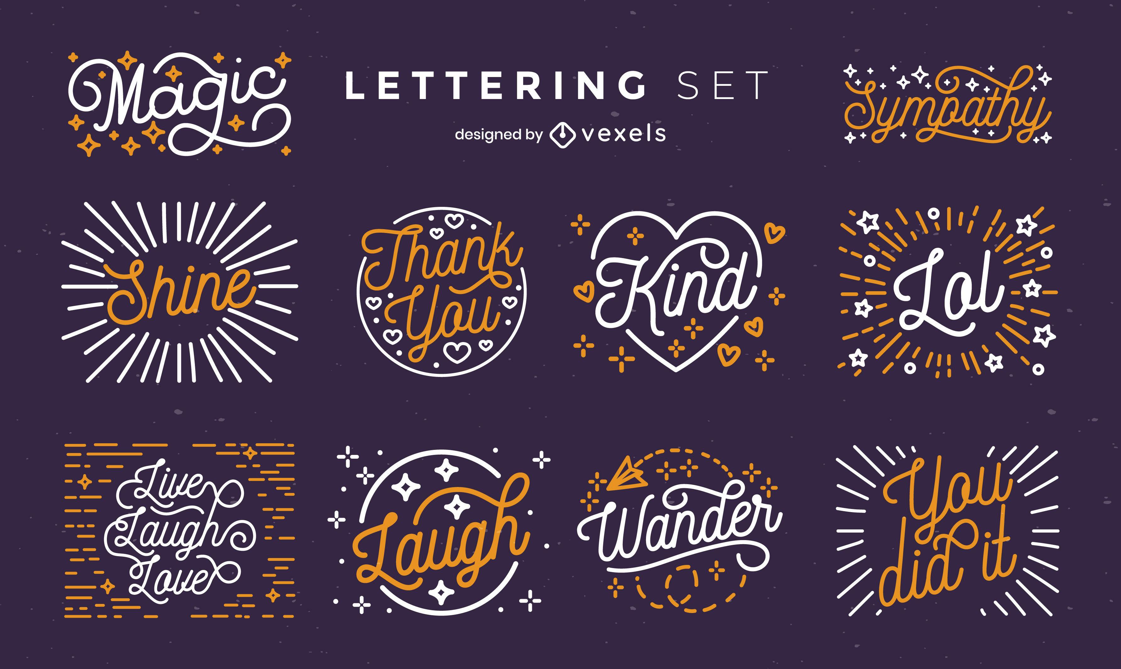 Citas y expresiones insignias letras.