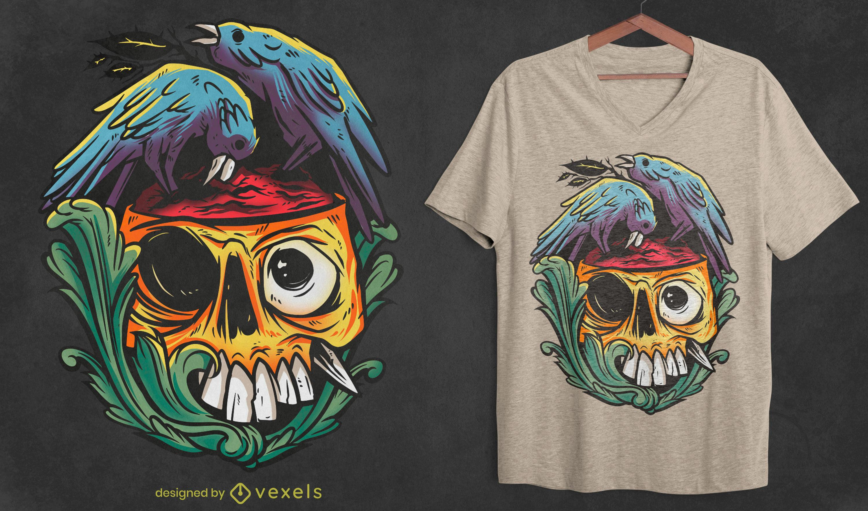 Diseño de camiseta de pájaro cuervo comiendo zombie