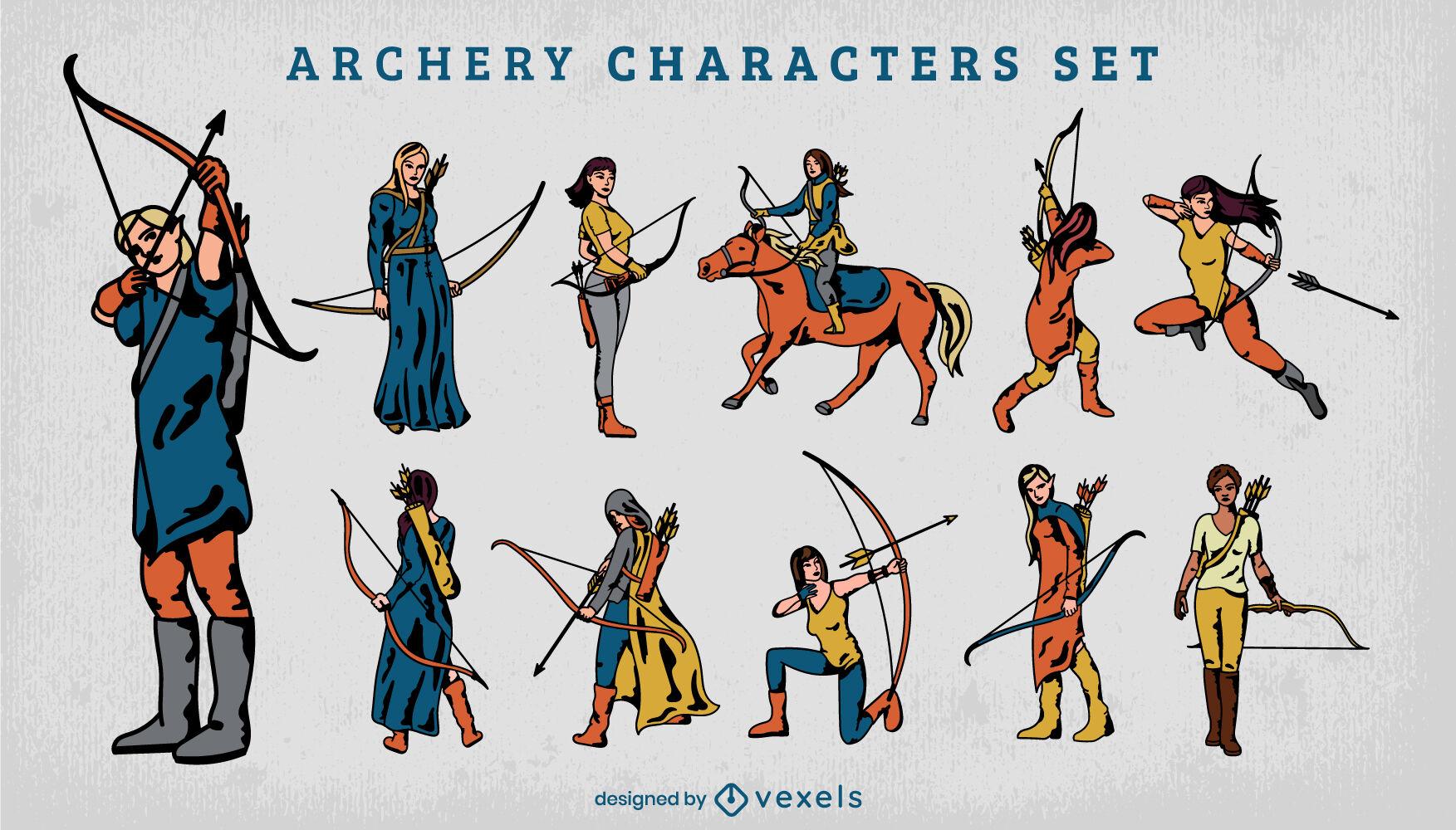 Conjunto de trazos de color de personajes de tiro con arco