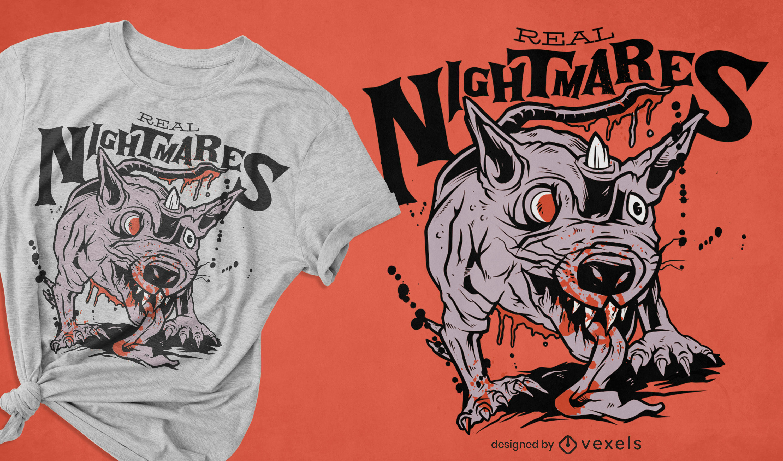 Diseño de camiseta de halloween de criatura de rata zombie
