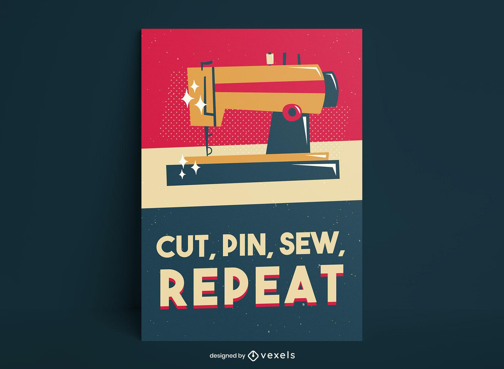 Diseño de cartel retro brillante de máquina de coser