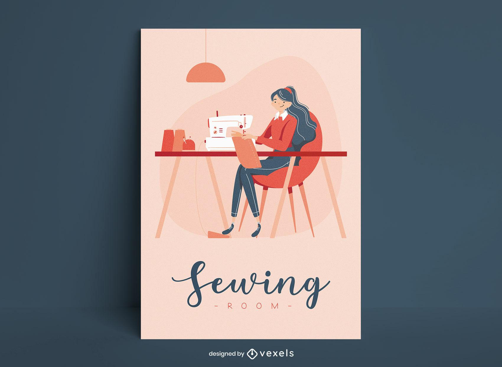 Cartaz de costureira e máquina de costura