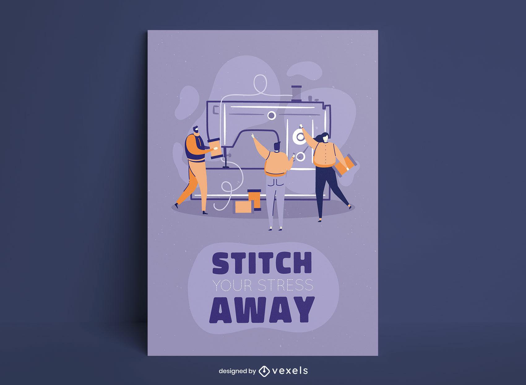 Diseño de carteles de trabajadores de máquinas de coser.
