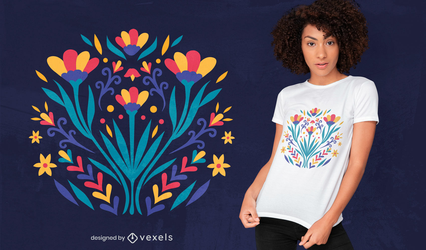 Diseño de camiseta plana de flores otomíes