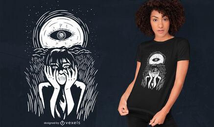 Eye on the moon design de t-shirt do dia das bruxas