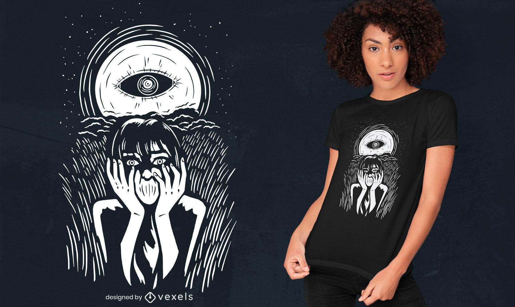Ojo en la luna diseño de camiseta de halloween