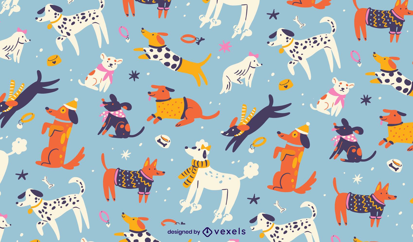 Flat dogs pattern design
