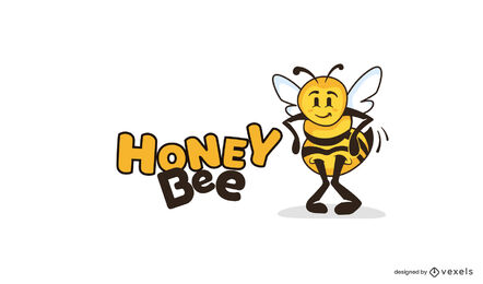 Plantilla de logotipo de abeja bailando
