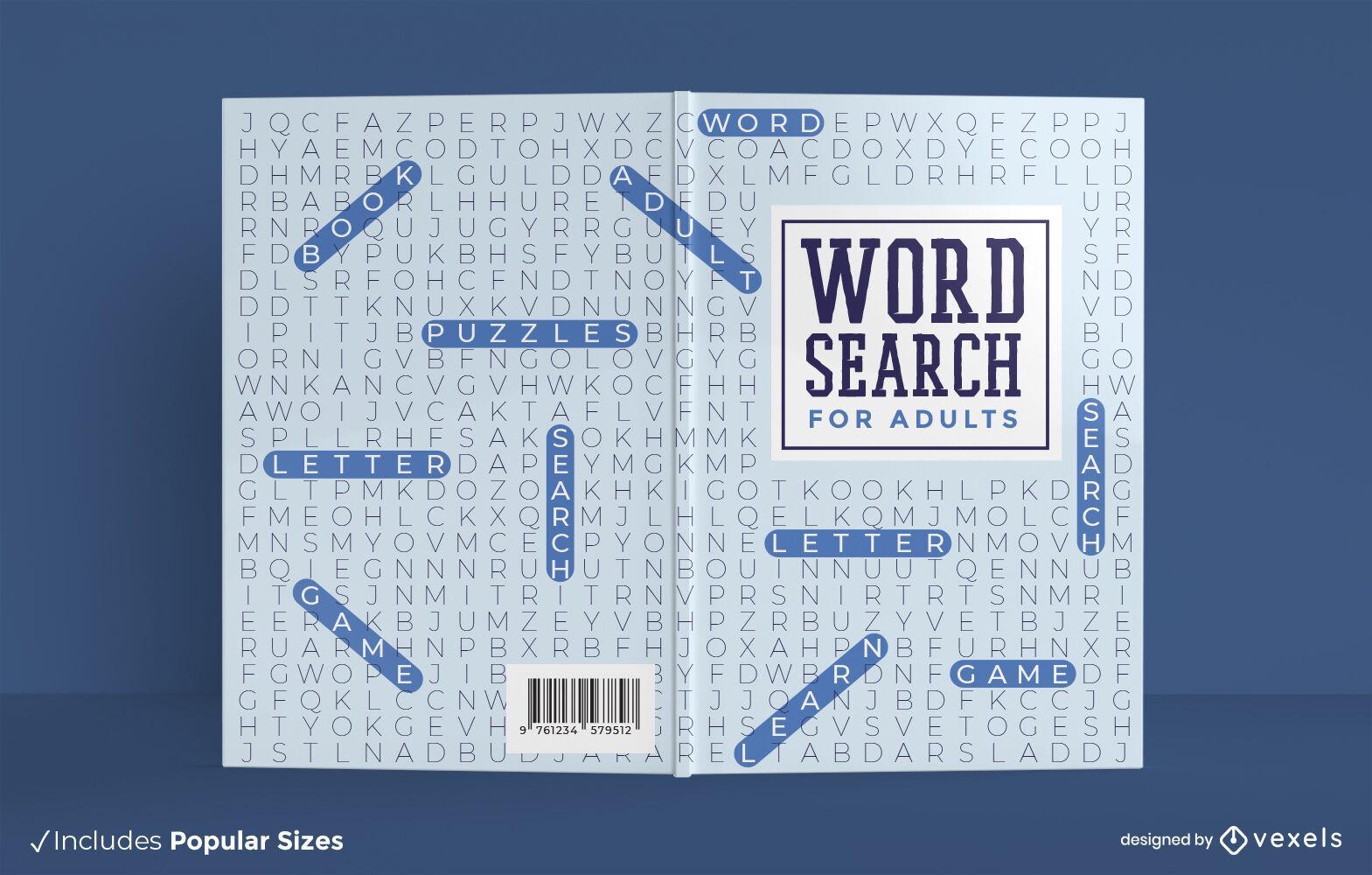 Diseño de portada de libro para adultos de búsqueda de palabras
