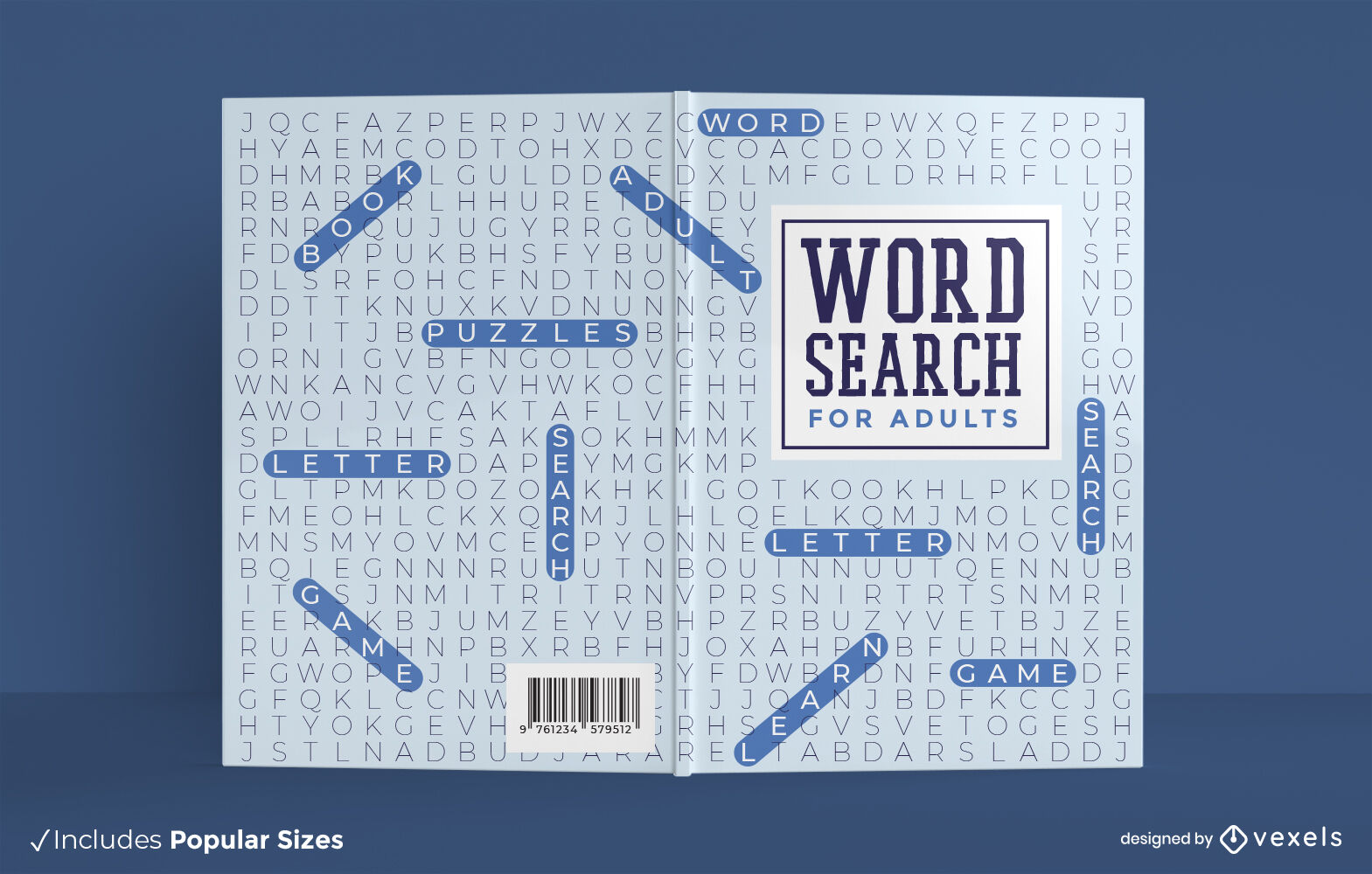 Word search adults book cover design
