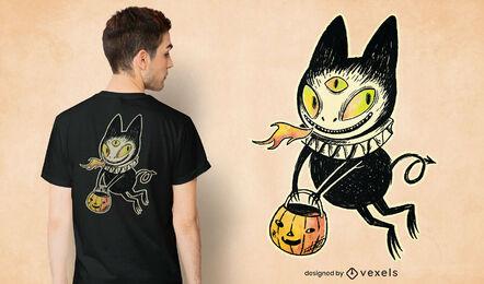 Camiseta psd con ilustración de gato demonio