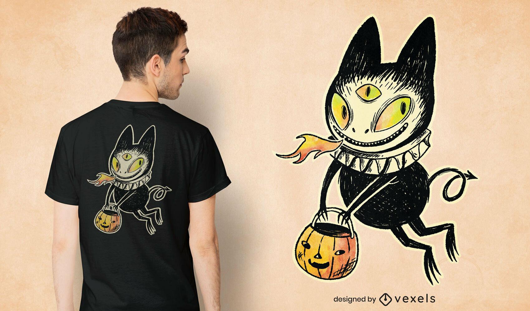 Demon cat illustration psd t-shirt