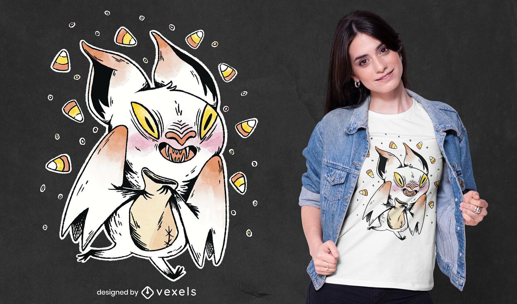 Camiseta psd de ilustración de murciélago demonio