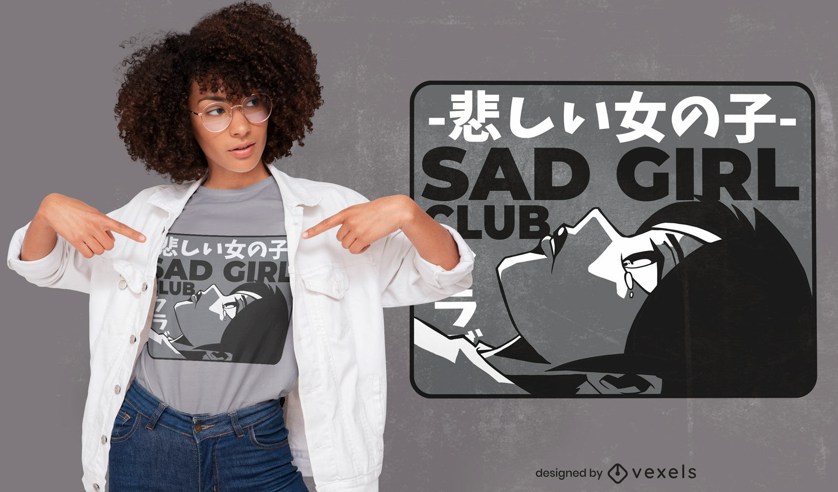 Diseño de camiseta de anime sad girl club