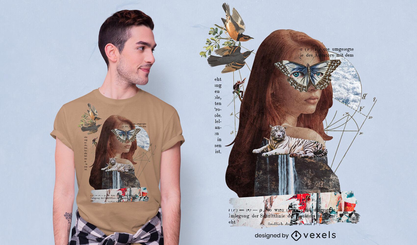Design de t-shirt vintage psd com colagem surrealista feminina