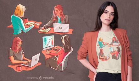 Mujer jefa trabajando diseño de camiseta psd