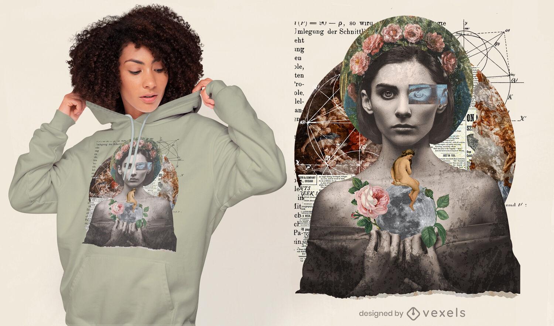 Diseño de camiseta gótica vintage collage girl psd