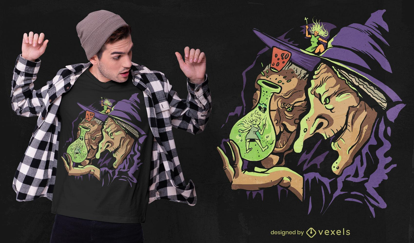 Diseño de camiseta de poción mágica de brujas viejas.