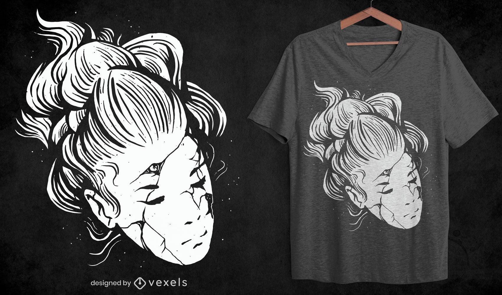 Broken face woman halloween t-shirt design