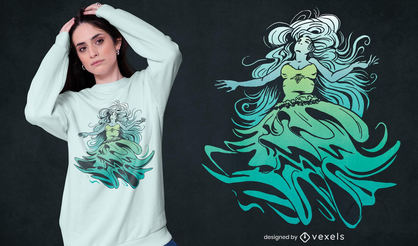 Diseño de camiseta de monstruo de halloween de novia fantasma