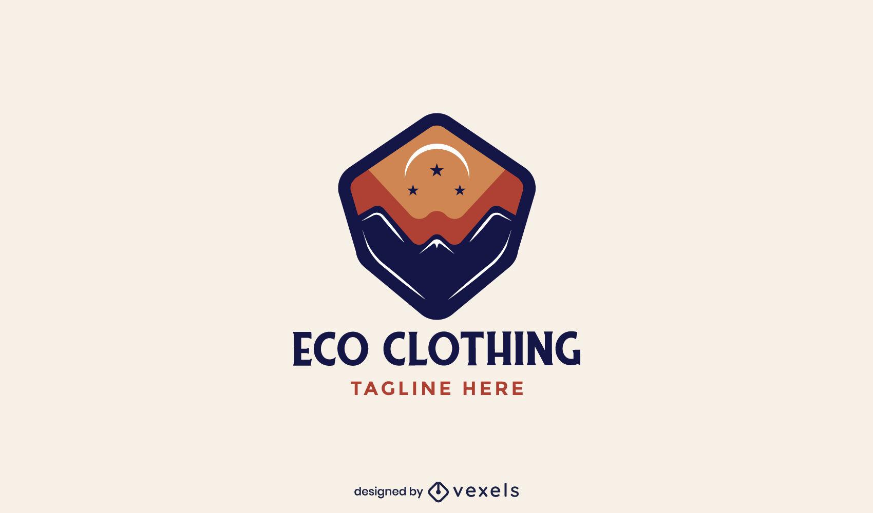 Logotipo de roupas de paisagem montanhosa