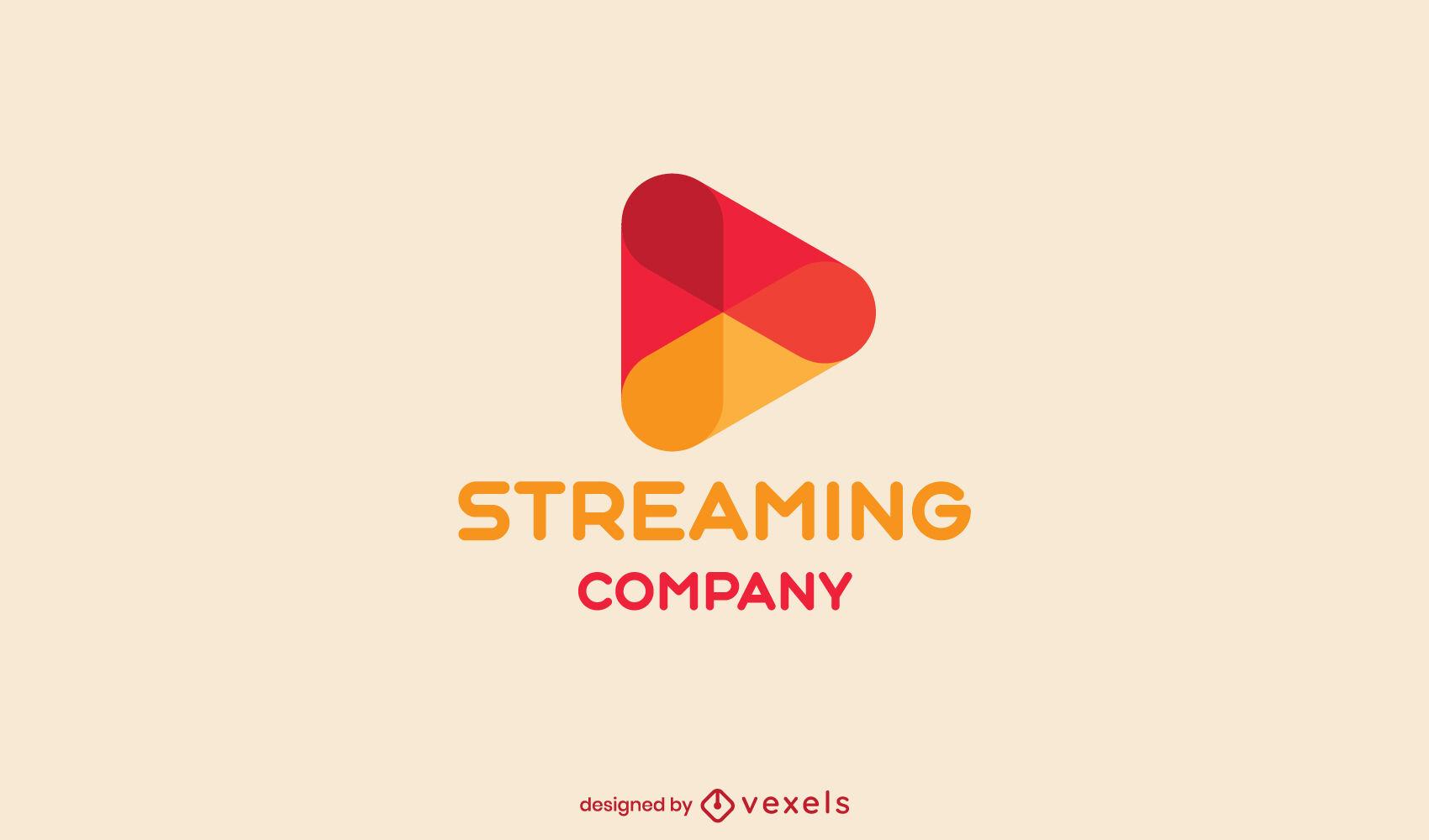 Streaming play symbol logo semi plano
