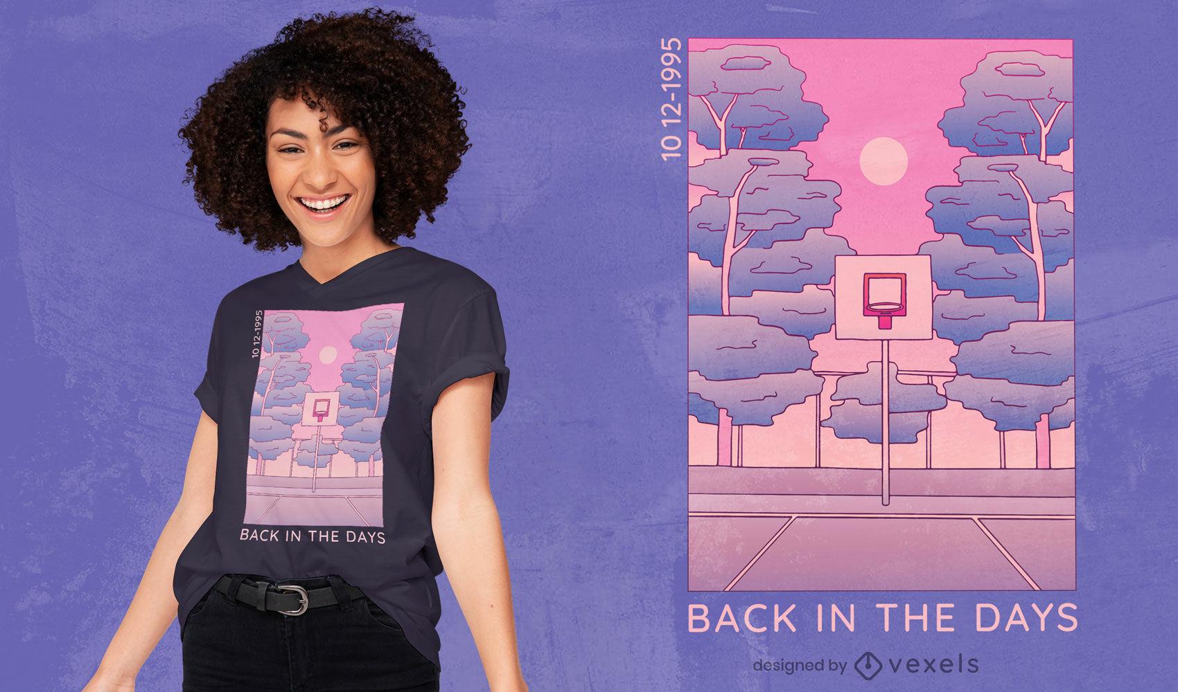 Diseño de camiseta retro de la escena de la nostalgia.