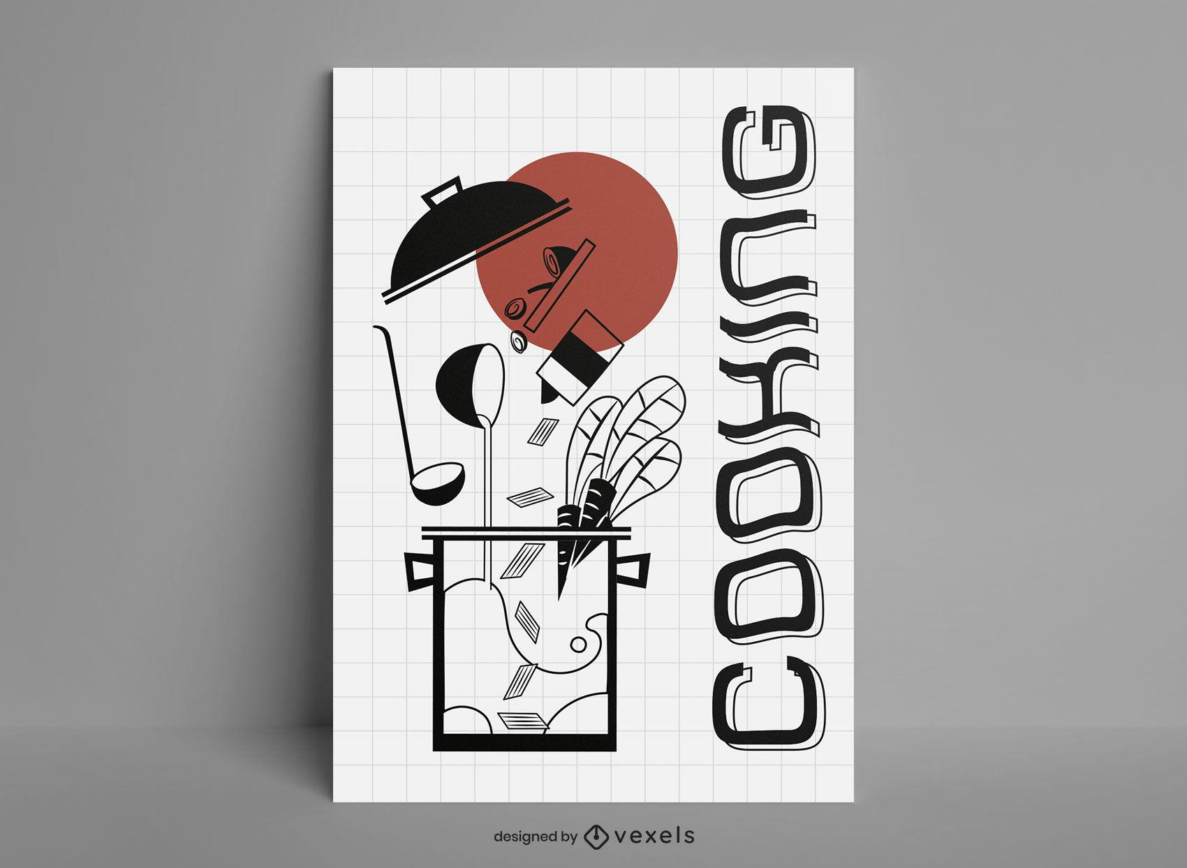 Utensilios de cocina y diseño de carteles de comida.