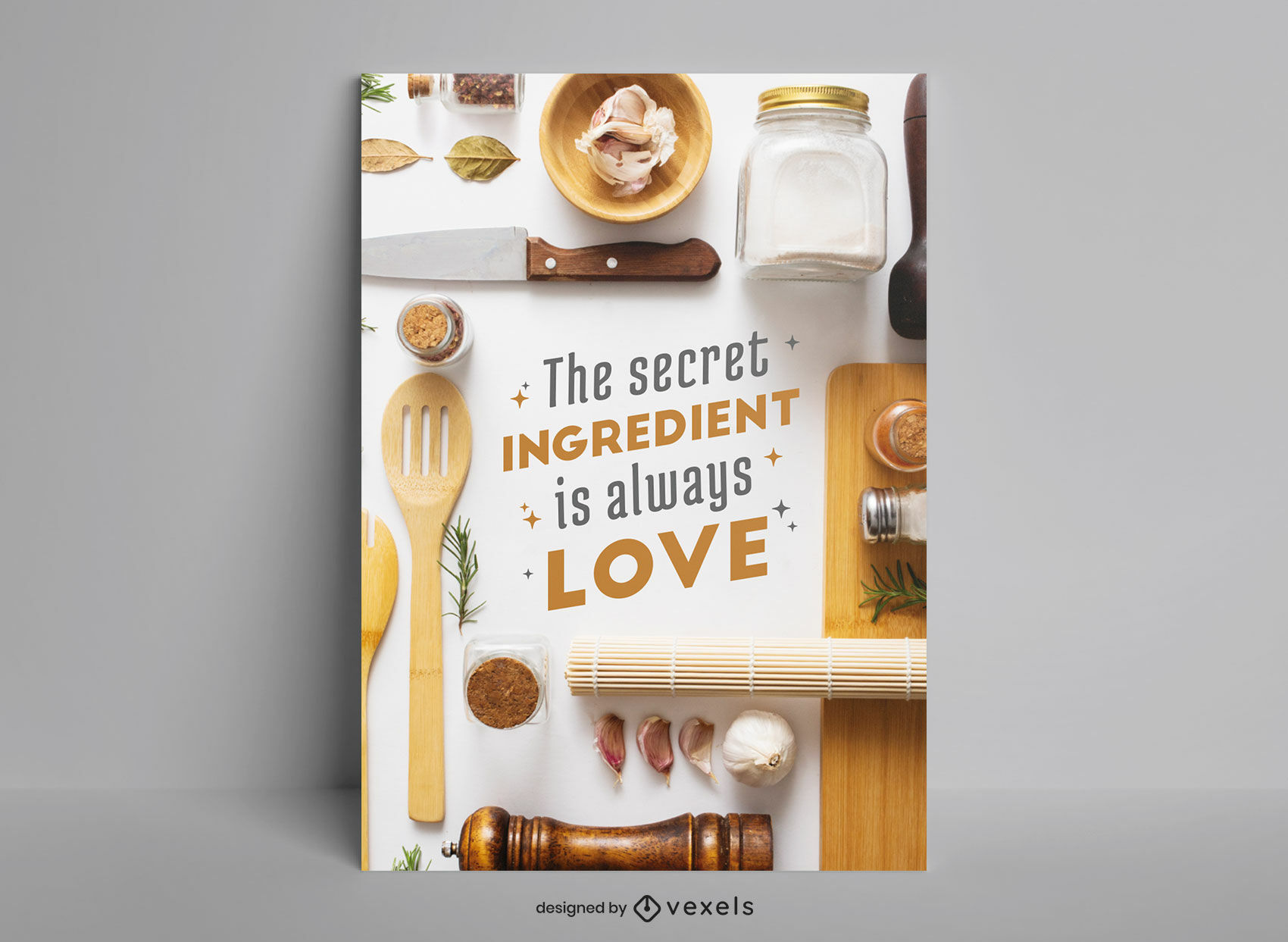 Diseño de cartel de utensilios de cocina de cocina.