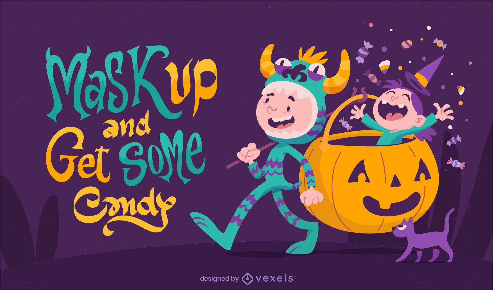 Crianças felizes em fantasias de ilustração de halloween