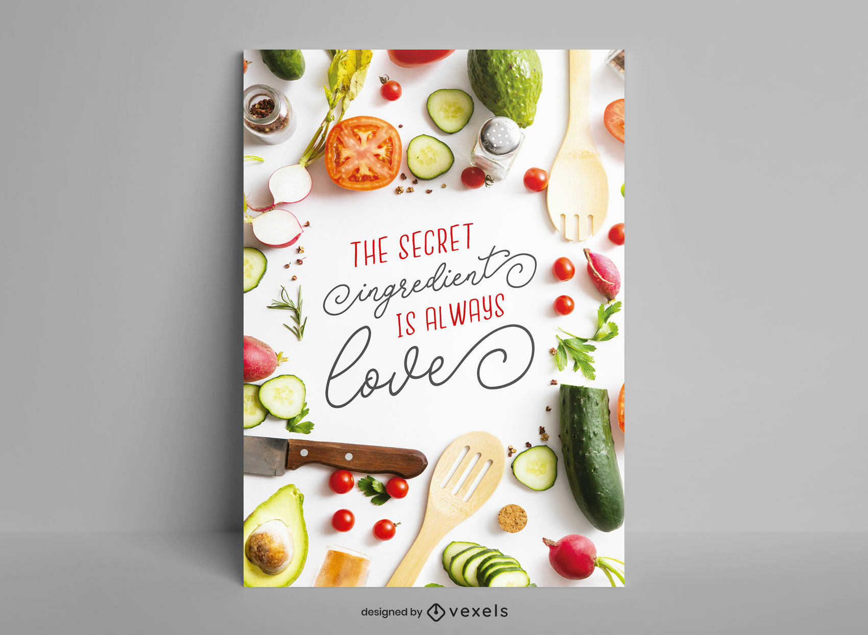 Diseño de carteles de ingredientes de alimentos saludables.