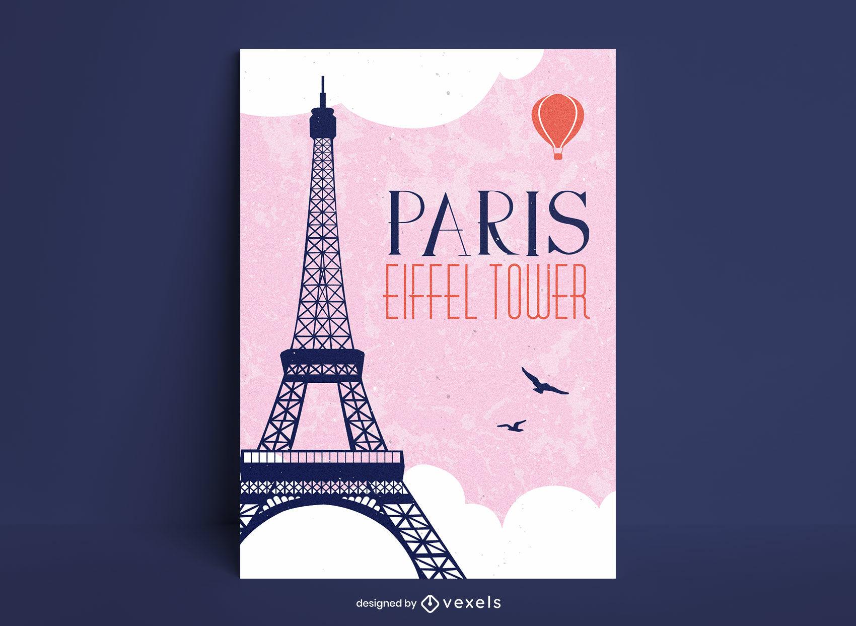 Eiffel tower france travel poster design