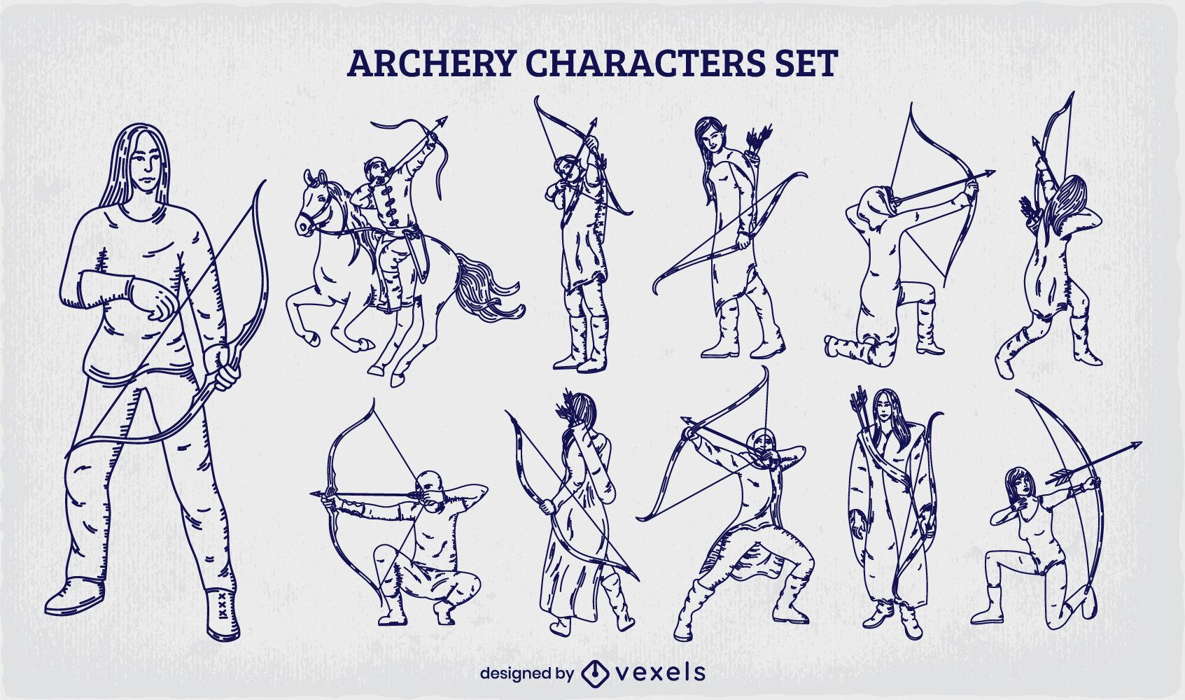 Conjunto de arqueros indios dibujados a mano