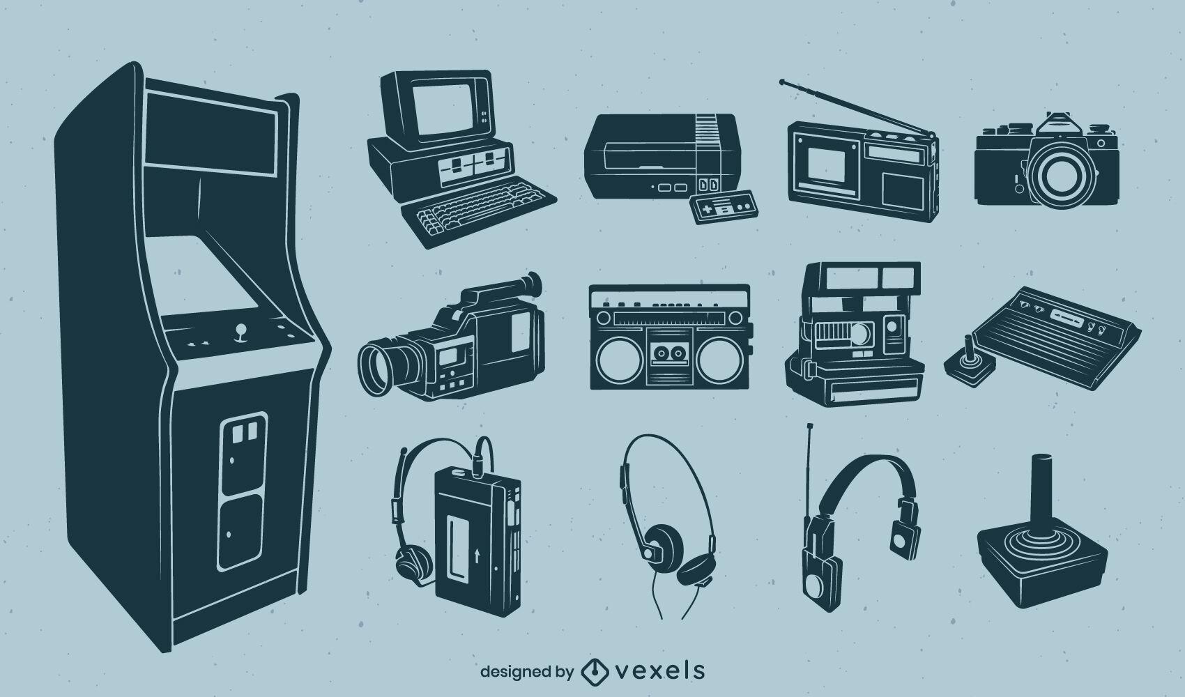 Recorte detalhado de elementos eletrônicos retro