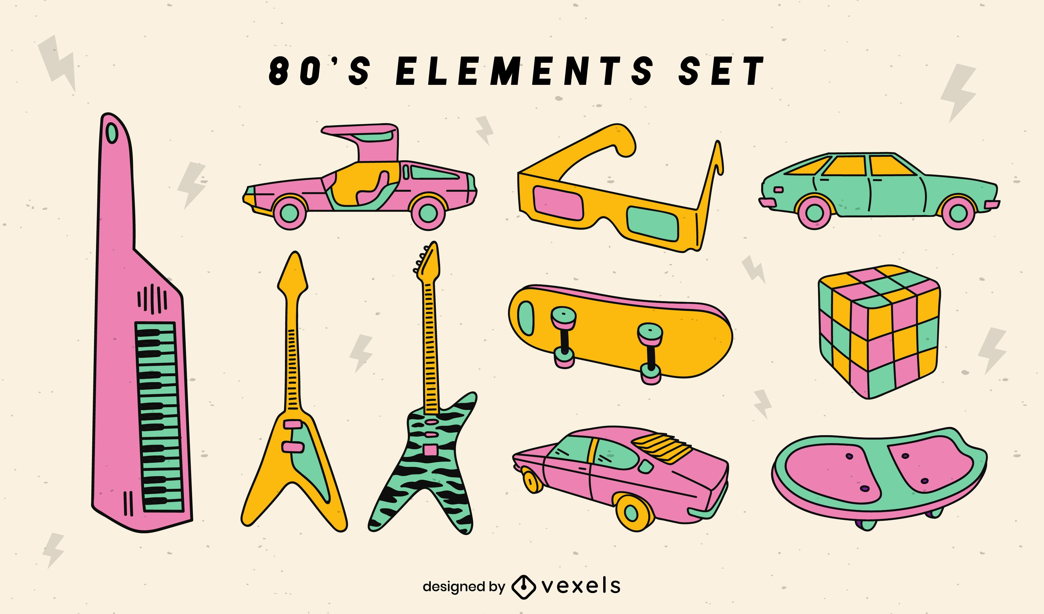 Conjunto retro de los años 80 de trazo de color de elementos