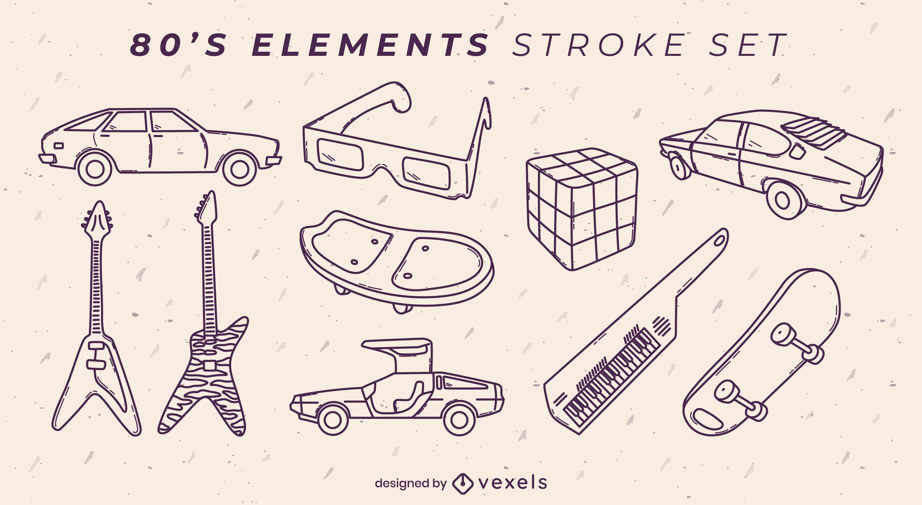 Conjunto retro de los años 80 de trazo de elementos