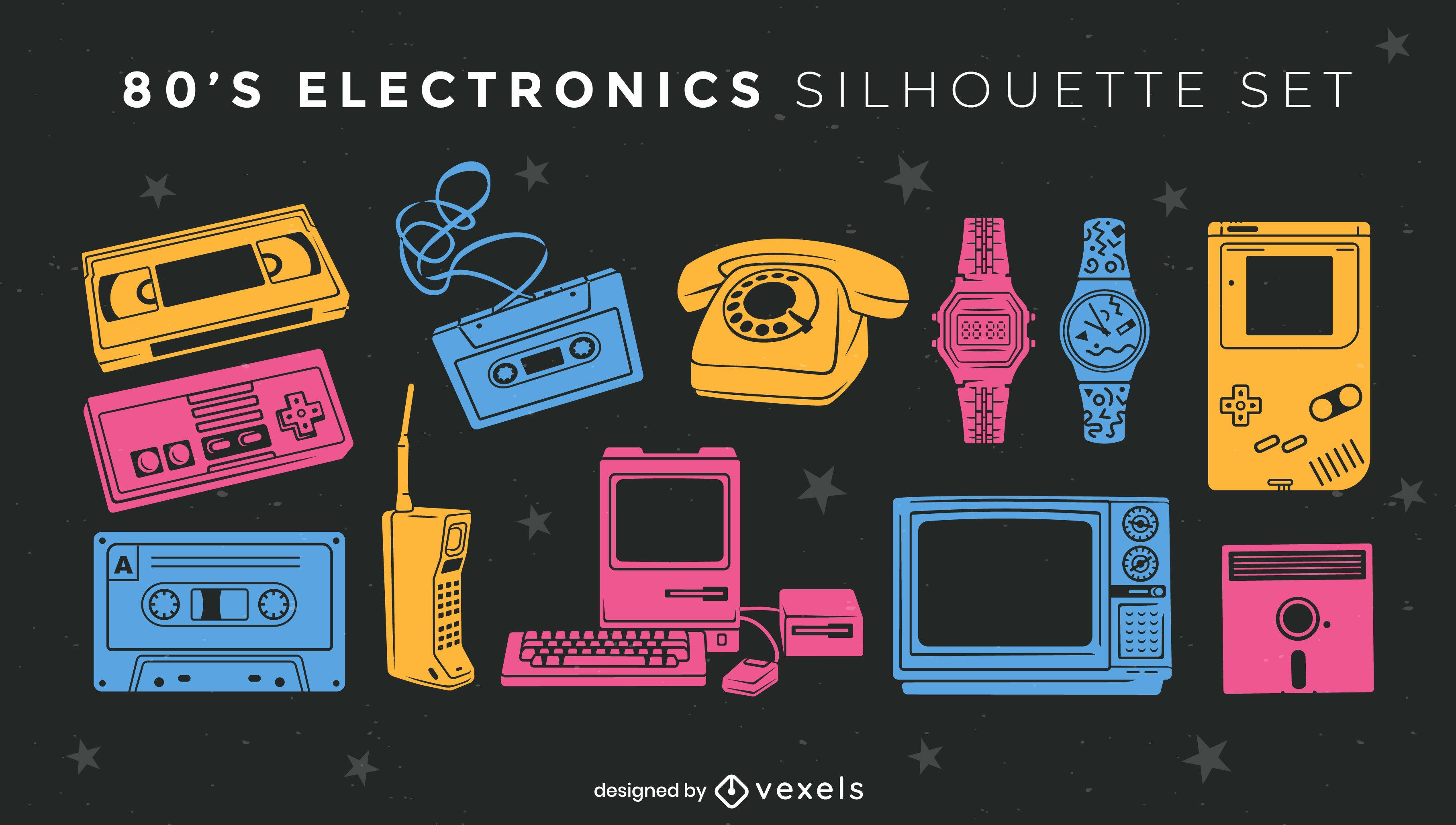 Retro electronic elements color cut out set